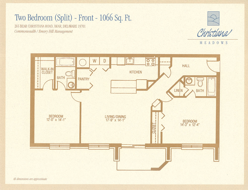 Apartment floor plans christiana meadows apartments for Split master bedroom floor plans